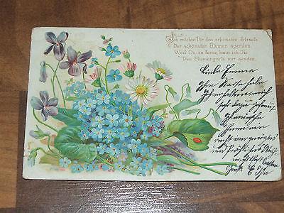Antike AK Glückwunschkarte Motiv und Spruch Stempel Neubukow Mecklb gel. 1901