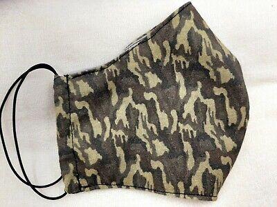 Mascarilla cubreboca doble capa tela 100% algodon abertura para filtro camuflage