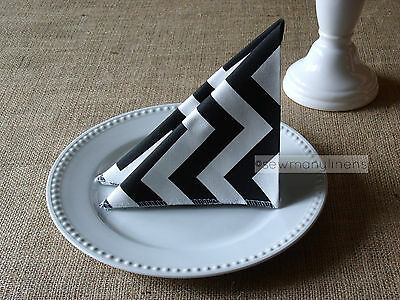 Black and White Napkins Wedding Decor Table Centerpiece Chevron Stripe Napkins