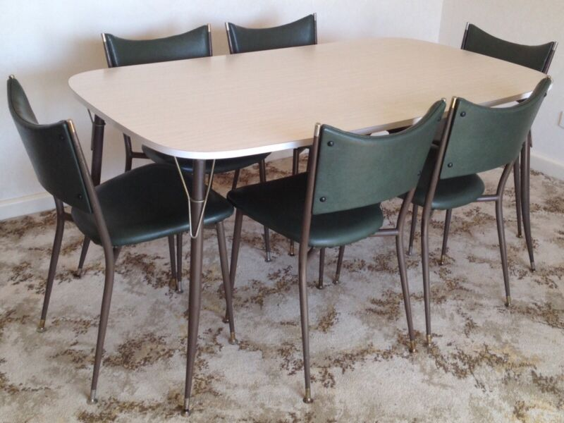 Astounding Retro 7 Pc Dining Setting 47 Dining Table 6 Mitzi Chairs Interior Design Ideas Tzicisoteloinfo