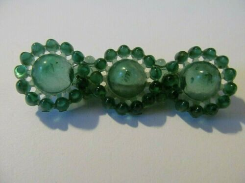 VINTAGE ART DECO THREE ROUND GREEN FLORAL DESIGNED CELLULOID BROOCH PIN