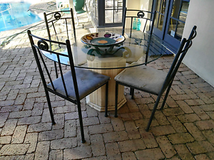 Marble glass table and chairs City Beach Cambridge Area Preview