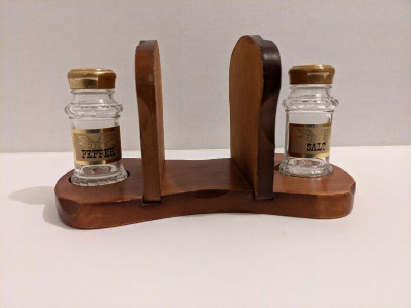 Vintage Wooden Napkin Holder with Salt and Pepper Shakers