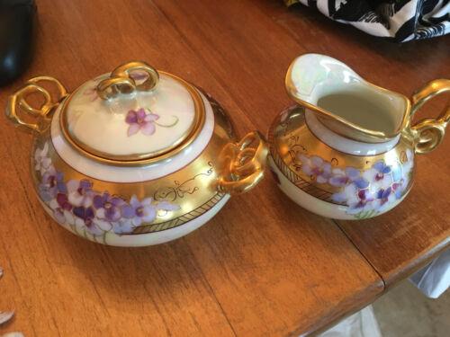 Pickard China GOA France Covered Sugar Bowl & Creamer Violets Artist Signed Mint