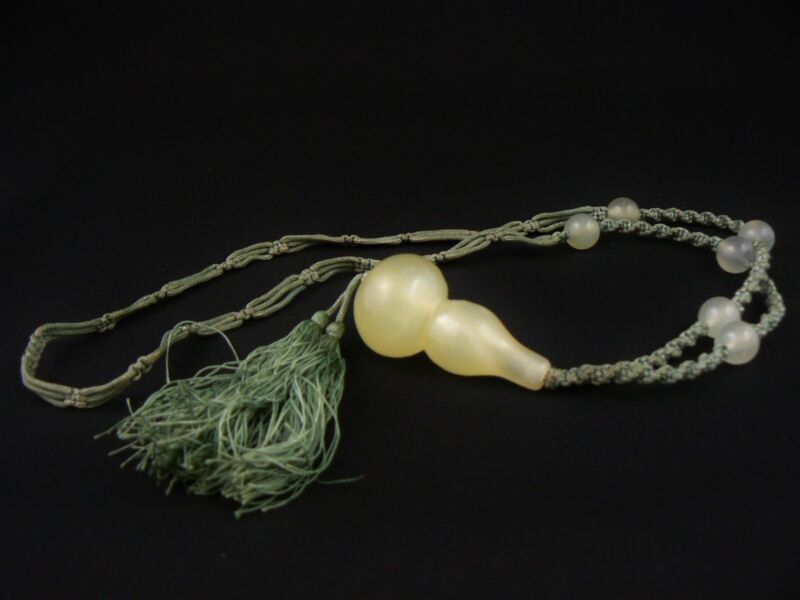 Excellent Antique Chinese Serpentine Gourd Pendant and Silk Necklace Mutton Fat