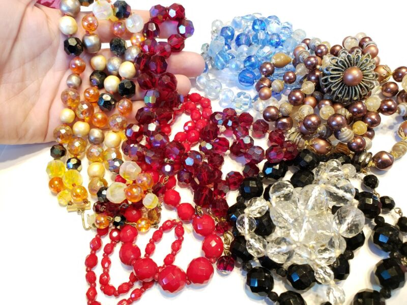 Vtg All wear Lot of 8 Crystal & lampwork beaded necklaces Czech Blue red Black