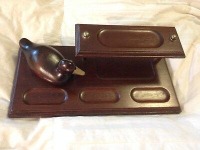 Vintage Apex Wood Desk Organizer 2 Tiers W Brass Billed Glass Eyed Duck Bird