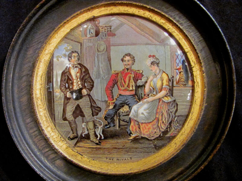 "Antique English Pot Lid Titled ""The Rivals"" 19th Century"