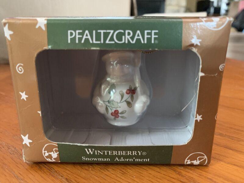 Pfaltzgraff Winterberry Snowman Adorn'ment Ornament New