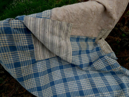 wonderful antique French mattress cover ticking indigo stripes blue