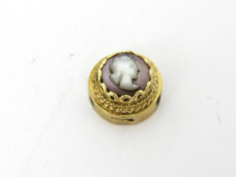 Antique Victorian 14k Yellow Gold Mother of Pearl Cameo Slide Charm 2.9g