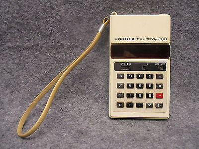 Unitrex Mini Handy 80R Electronic LED Pocket Portable Calculator w/ Strap Tested