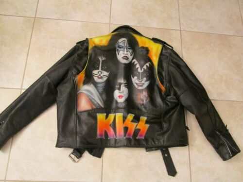 KISS LEATHER JACKET XL - PAUL STANLEY GENE SIMMONS PETER ACE FREHLEY - RARE