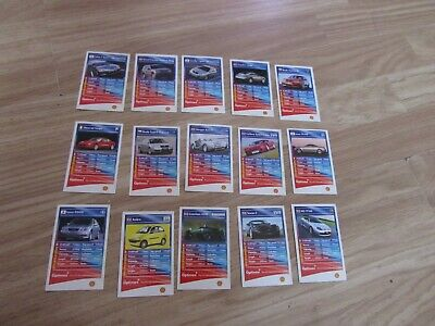 15 COLLECTABLE TOP TRUMPS TRADING CARDS BRITISH MOTOR SHOW 2002 BY SHELL UK