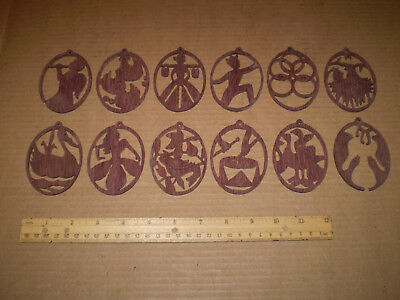 Laser Engraved Wood Christmas Tree Ornaments Set of 12 Seasonal Decorations