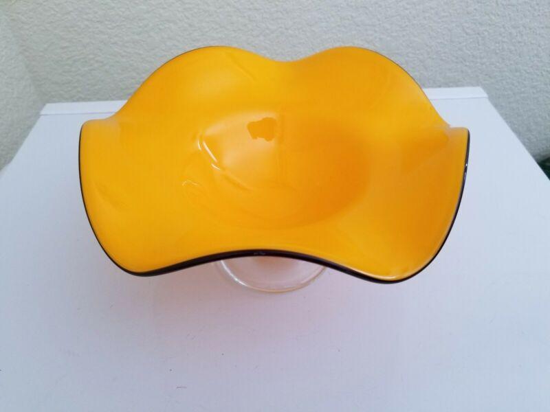 Teleflora Cased Orange Hand Blown Art Glass Ruffled Pedestal Compote Bowl Dish