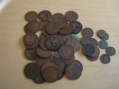 KING GEORGE V COPPER COINS - 40 X 1D, 7 X 1/2D AND 5 X FARTHINGS WEIGH OVER 420g