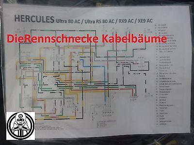 Hercules Ultra 80 AC/RX9 AC/XE9 AC/RS80 Kabelbaum Nachbau incl. farb. Schaltplan online kaufen
