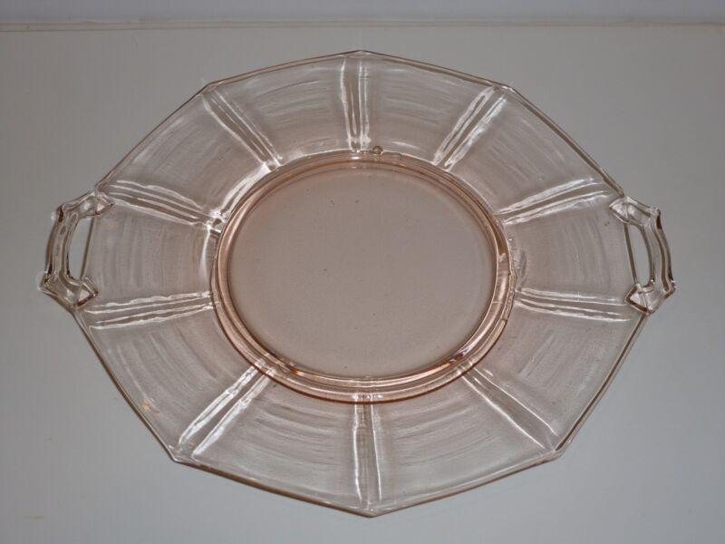 "Vintage Cambridge Decagon Pink Depression Glass Handled Serving Plate, 10-1/4"""