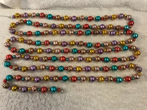 """Vintage Christmas colorful beaded garland 108"""" long EX6736"""