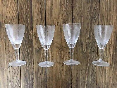 4 Vintage Etched Sherry / Port / Aperitif Glasses