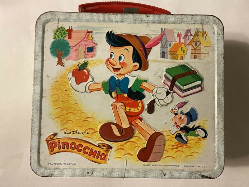 Vintage Disney Pinocchio Metal Lunch Box Aladdin No Thermos Lunchbox