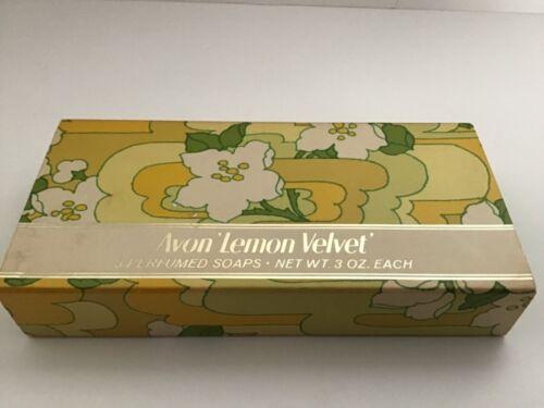"""Vintage Avon """"Lemon Velvet"""" 3 Perfumed 3 oz. Soaps  NEW"""