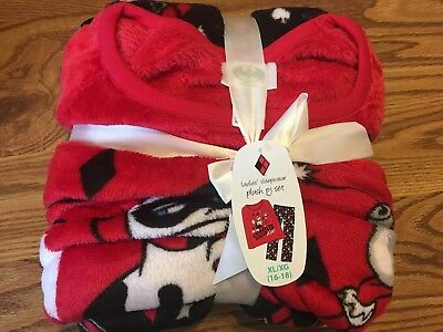 Harley Quinn pajamas Ladies set plush fleece christmas XL 16- 18 Naughty List](Harley Quinn Pjs)