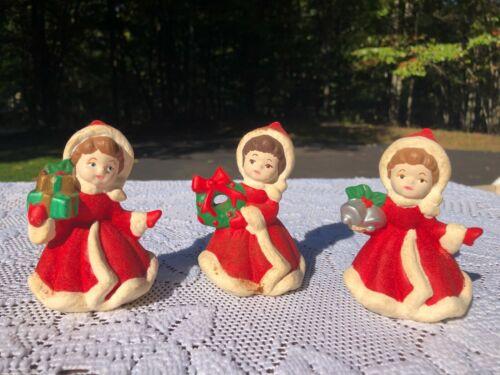 Vintage Lot of 3 Christmas Figurines Ceramic Flocked Japan?