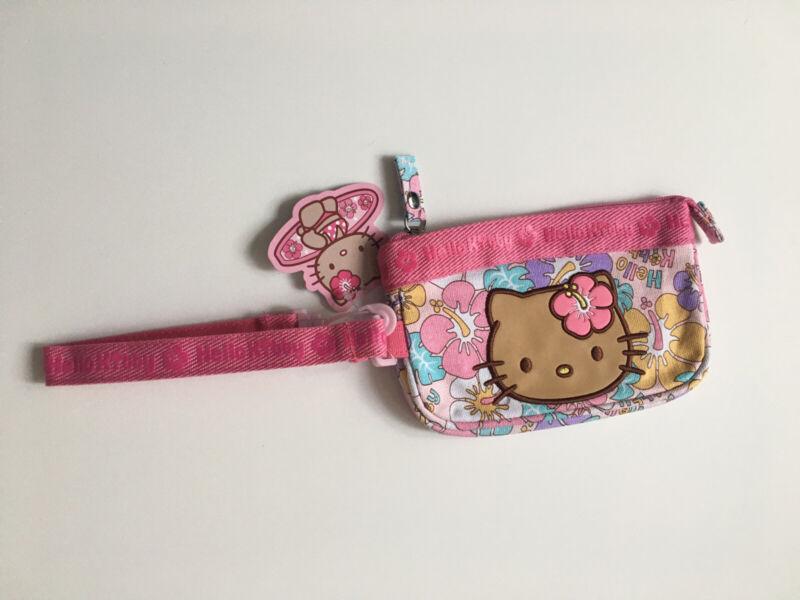 Hello Kitty Hawaiian 🌺 Pink Zippers Clutch Phone Carry Bag Purse Sanrio Tan