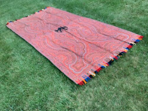 """RARE ANTIQUE AUTHENTIC LARGE KASHMIR PAISLEY SHAWL 116""""x58"""" MUST SEE NO RESERVE"""