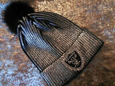 RAIDERS hat CUSTOM SILVER pom beanie cap hand jeweled with Swarovski crystals](Custom Raiders Hat)