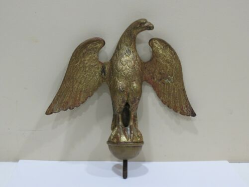 Antique Gilt Bronze Eagle Architectural Finial Flag Pole Topper