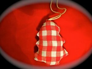 Shabby-Chic-Gingham-Red-and-White-Fabric-Xmas-Christmas-Tree-Decoration