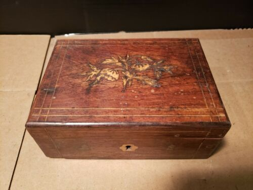 Antique Early 1800s Wooden Inlay Inlaid Wood Jewelry Dresser Trinket  Box