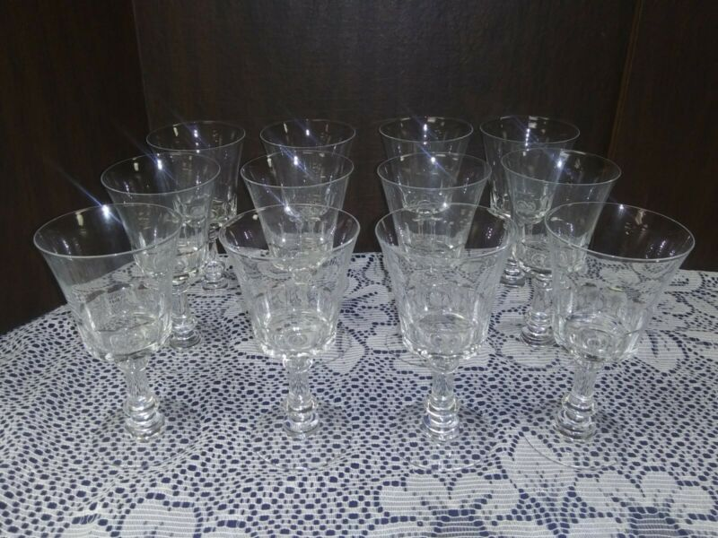 Vintage Fostoria Crystal Dolly Madison Set of 12 Water Wine Stemware Glasses EX!