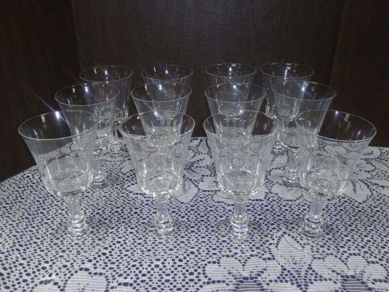 Vintage Fostoria Crystal Dolly Madison Set of 12 Water Wine Stemware Glasses EX!