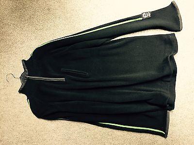 Pullover Troyer Strick marine mit grünen Streifen Gr. L mit Reißverschluss