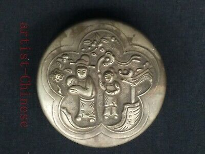 Collection China Tibet Silver Hand Carving Figure Snuff Box ink Box Decoration
