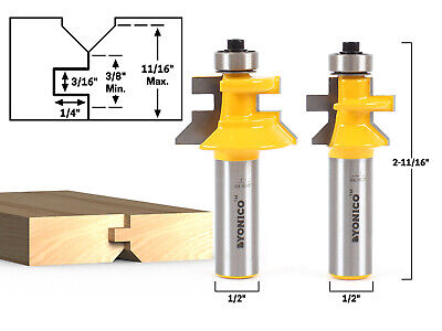 Flooring 2 Bit Tongue And Groove V Notch Router Bit Set - 12 Shank - Yonico 15