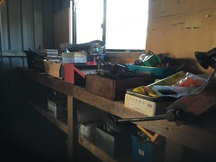 Assorted boxes of tools