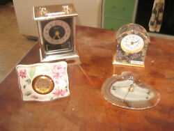 4 Quartz Table Clocks Bulova Linden Lenox Agate face
