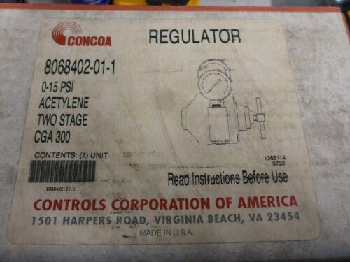 Concoa 8068402-01-1 Acetylene Two Stage CGA 300 Regulator 0-15 PSI Unused