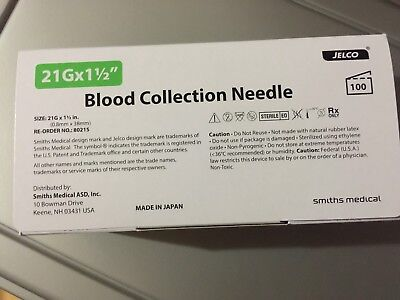 Jelco Multi-sample Blood Collection Needles 80215. 21g X 1.5. Box Of 100.