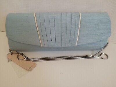 Jacques Vert Clutch Bag Powder Blue & White