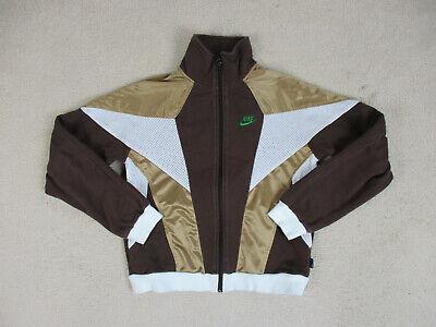 VINTAGE Nike Jacket Adult Medium Brown White Swoosh Spell Out Coat Mens 90s *