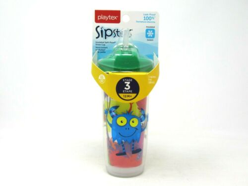 Playtex Sipsters Stage 3 Insulated Straw Cup 9 oz Monsters Green 12 M+ BPA Free
