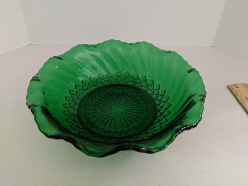 Vintage Anchor Hocking Forest Green Glass Bowl Diamond Swirl Ruffled Edge 6 1/2