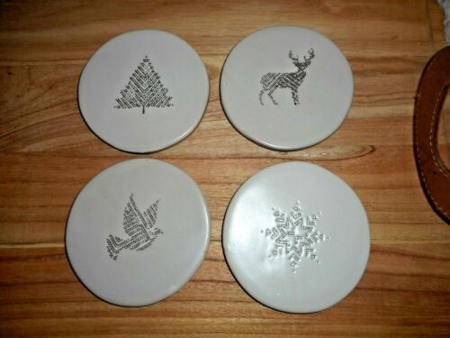 Hearth & And Hand With Magnolia Christmas Stoneware Coasters Set Of 4 New