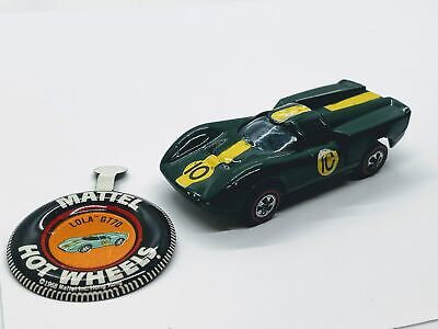 Hot Wheels LOLA GT70 1969 Redline Olive Color with smooth tab metal button